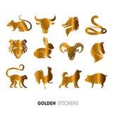 Vector el ejemplo de las etiquetas engomadas animales de oro del año del horóscopo, tatuaje temporal de destello Imágenes de archivo libres de regalías