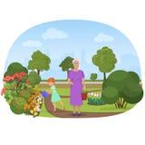 Vector el ejemplo de las flores de riego de la muchacha con la abuela en para poseer el jardín ilustración del vector