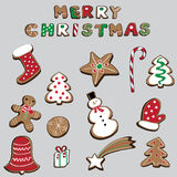 Vector el ejemplo de las galletas de la Navidad aisladas en fondo gris Imagen de archivo