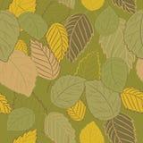 Vector el ejemplo de las hojas de otoño en fondo verde Modelo inconsútil Imagen de archivo libre de regalías