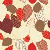 Vector el ejemplo de las hojas del rojo y del marrón en fondo amarillo claro Modelo inconsútil Fotografía de archivo libre de regalías