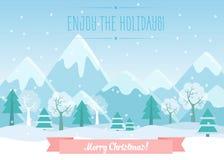 Vector el ejemplo de las montañas del invierno ajardinan con el bosque del pino y el texto de la Feliz Navidad Tarjeta de Navidad Imágenes de archivo libres de regalías