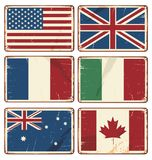 Vector el ejemplo de las muestras retras de la lata con las banderas del estado Imagen de archivo libre de regalías