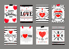 Vector el ejemplo de las plantillas de la tarjeta de felicitación del día de tarjetas del día de San Valentín ilustración del vector