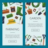 Vector el ejemplo de las plantillas de la bandera del web de los iconos del plano que cultiva un huerto libre illustration