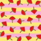 Vector el ejemplo de las rebanadas del helado de la sandía en un palillo con el fondo colorido del modelo libre illustration