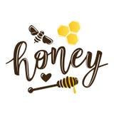 Vector el ejemplo de letras naturales del ` de la miel del ` libre illustration
