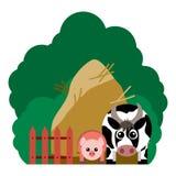 Vector el ejemplo de los animales del campo y de los artículos relacionados Fotografía de archivo libre de regalías