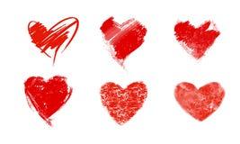 Vector el ejemplo de los corazones rojos pintados en acuarela Imagenes de archivo