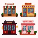 Vector el ejemplo de los edificios que son restaurantes, café, alimentos de preparación rápida Imágenes de archivo libres de regalías