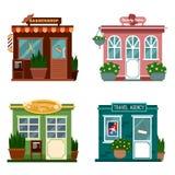 Vector el ejemplo de los edificios que son tiendas para los servicios Sistema de tiendas planas agradables Diverso escaparate - s Fotografía de archivo libre de regalías