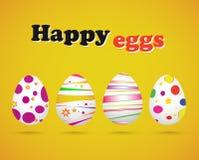 Vector el ejemplo de los huevos de Pascua en fondo amarillo Fotos de archivo libres de regalías