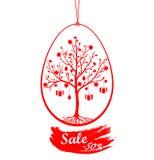 Vector el ejemplo de los huevos de Pascua rojos abstractos con la muestra de la venta Imagen de archivo