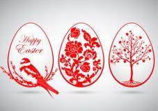Vector el ejemplo de los huevos de Pascua rojos en fondo gris Imagen de archivo libre de regalías