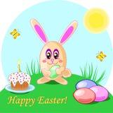 Vector el ejemplo de los huevos y de la torta del conejo de pascua Tarjeta de Holliday Fotografía de archivo