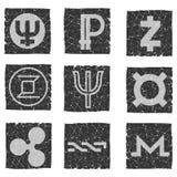 Vector el ejemplo de los iconos blancos y negros del grunge con símbolos de diversas monedas electrónicas digitales - primecoin,  Imagen de archivo libre de regalías