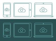 Vector el ejemplo de los iconos computacionales de la nube linear del estilo Imagenes de archivo