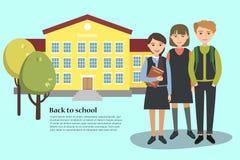 Vector el ejemplo de los niños de una escuela de los jóvenes y de la construcción de escuelas De nuevo a modelo de la escuela Fotos de archivo