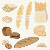 Vector el ejemplo de los productos de la panadería como el pan, el baquette, los bollos y el cruasán en fondo amarillo Imágenes de archivo libres de regalías