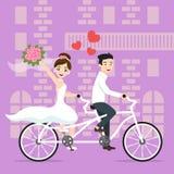 Vector el ejemplo de los recienes casados felices jovenes novia y novio libre illustration