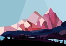 Vector el ejemplo de montañas hermosas ajardinan en estilo geométrico en los colores rosados y azules, diseño plano ilustración del vector