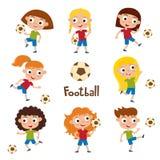 Vector el ejemplo de muchachas en camisa y ponga en cortocircuito jugar a fútbol ilustración del vector