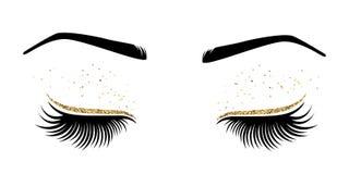 Vector el ejemplo de ojos con los latigazos largos de los ojos