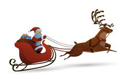 Vector el ejemplo de Papá Noel feliz que monta un reno en fondo aislado blanco Ejemplo del vector en historieta Foto de archivo libre de regalías