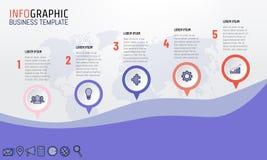 Vector el ejemplo de 5 pasos Infographics para la plantilla de la presentación del negocio stock de ilustración