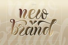 Vector el ejemplo de poner letras al nuevo cartel de la marca, logotipo, texto para la tienda de ropa, catálogo, colección, anunc foto de archivo