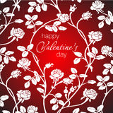 Vector el ejemplo de rosas blancas hermosas y del saludo feliz del día del ` s de la tarjeta del día de San Valentín Fotografía de archivo