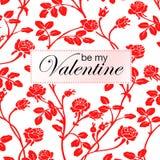 Vector el ejemplo de rosas rojas y sea mi tarjeta de la tarjeta del día de San Valentín Imagen de archivo
