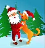 Vector el ejemplo de Santa Claus con un símbolo del perro de 2018 Foto de archivo