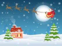 Vector el ejemplo de Santa Claus que vuela sobre casa y árboles en la noche Tarjeta de felicitación del paisaje de la Nochebuena Imagen de archivo libre de regalías