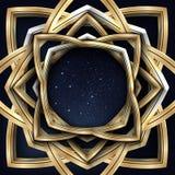 Vector el ejemplo de un bastidor de oro del vintage con el cielo estrellado de la noche dentro de él en negro Foto de archivo libre de regalías