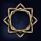 Vector el ejemplo de un bastidor de oro del vintage con el cielo estrellado de la noche dentro que aisló en negro Imagen de archivo libre de regalías