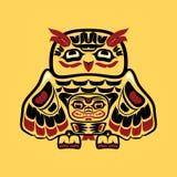 Arte nativo norteamericano, búho Foto de archivo libre de regalías