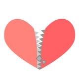 Vector el ejemplo de un corazón rojo con la cremallera Fotografía de archivo libre de regalías