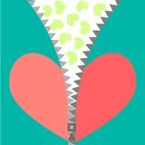 Vector el ejemplo de un corazón rojo con la cremallera Imágenes de archivo libres de regalías