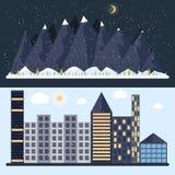 Vector el ejemplo de un diseño plano con la ciudad, montaña stock de ilustración