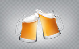 Vector el ejemplo de un estilo realista dos vidrios que tuestan las tazas con la cerveza, vidrios de cerveza de las alegrías Imágenes de archivo libres de regalías