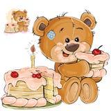 Vector el ejemplo de un gusto por lo dulce marrón del oso de peluche que come un pedazo de torta de cumpleaños Imagenes de archivo