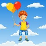 Vector el ejemplo de un muchacho feliz con los globos en cielo nublado Fotos de archivo