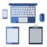 Vector el ejemplo de un ordenador portátil plano, smartphone, tableta Ilustración del Vector