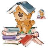 Vector el ejemplo de un oso de peluche marrón cansado de estudiar y ponga un libro abierto en su cabeza ilustración del vector