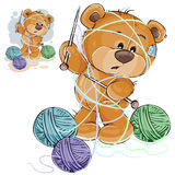 Vector el ejemplo de un oso de peluche marrón que sostiene una aguja que hace punto en su pata y enredada en hilos Fotografía de archivo libre de regalías