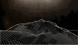 Vector el ejemplo de un paisaje tridimensional del wireframe en un fondo negro stock de ilustración