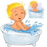 Vector el ejemplo de un pequeño bebé que salpica en el baño libre illustration