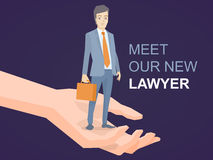 Vector el ejemplo de un retrato de un hombre en los wi de un abogado de la chaqueta Fotos de archivo libres de regalías