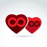 Vector el ejemplo de un símbolo de la eternidad puesto en un corazón rojo libre illustration